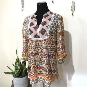 Fig and flower boho patterned flowy top
